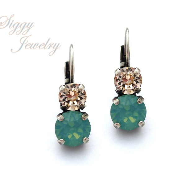 586d774a2fce7 Swarovski Crystal Pacific Opal and Silk Earrings Boutique